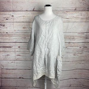 Lungo L'Arno Linen Tunic Dress    Gray Scoop Neck